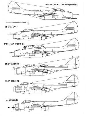 Чертёж истребителя МИГ-9