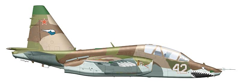 """Су-25УБ """"борт 42"""" 960-го ШАП 1-й ШАД 4-й армии ВВС и ПВО, аэродром Приморск-Ахтарск, 1999 г. (По материалам С. Пазынича)"""