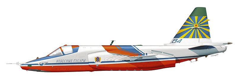 """Су-25 пилотажной группы """"Небесные гусары"""", аэродром Кубинка."""