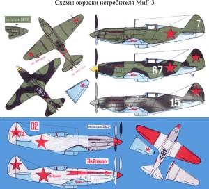 Схемы окраски истребителя МИГ-3