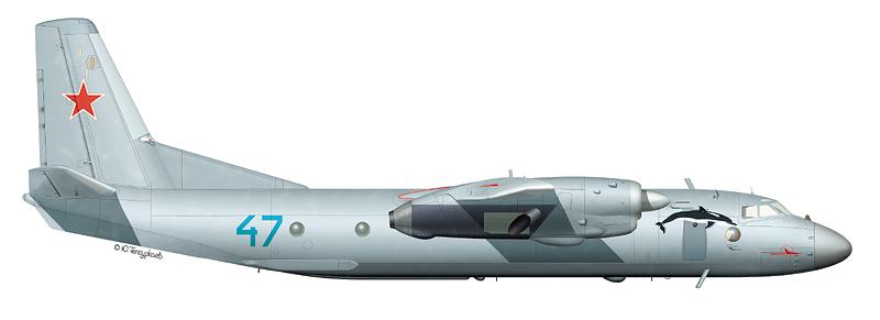 "Ан-26 ""борт 47"" (зав. № 9209) транспортного авиаполка ВВС ЧФ, аэродром Кача, Крым, август 1996 г."