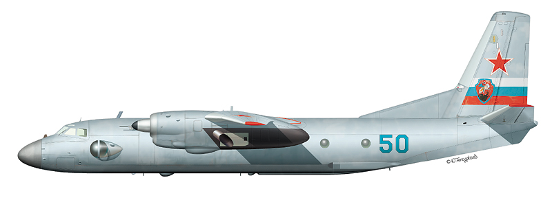 """Ан-26 """"борт 50"""" (зав.№ 4902) отдельного транспортного отряда 148-го ЦБП и ПЛС авиации ПВО, аэродром Саваслейка, 1998 г. (По материалам C. Пазынича)"""