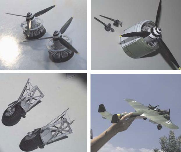 двигатели, шасси и готовая модель самолёта dornier 17p