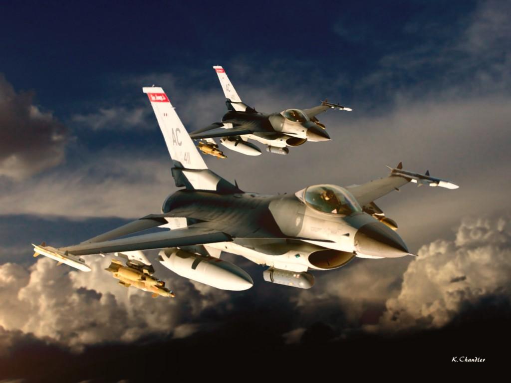 Истребитель Fighting Falcon F-16 разрешение картинки 3000 х 2250 px K.Chandler