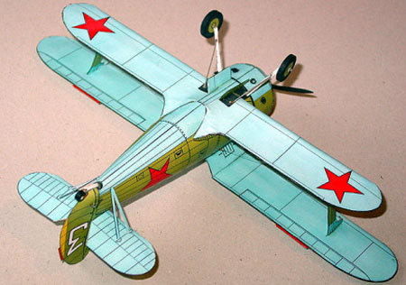 Модель истребителя из бумаги - И-153. Вид снизу.