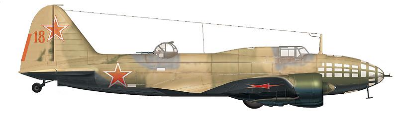 """Ил-4 """"красный 18"""" пом. командира 4-го МТАП м-ра Т.Д. Поповича, 12-го августа 1945 г. потопившего японский фрегат №82."""