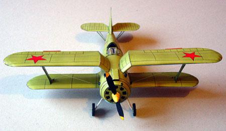 Бумажная модель самолёта И-153. Вид спереди.