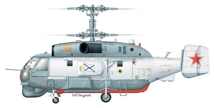"""Ка-27ПС """"борт 21"""" 38-го ОКПЛВП СФ, аэродром Сафоново, 1995 г. Такую же эмблему - орел на фоне штурвала и надпись NORD - несет Ка-27ПЛ """"борт 07"""" (см. рисунок ниже)"""