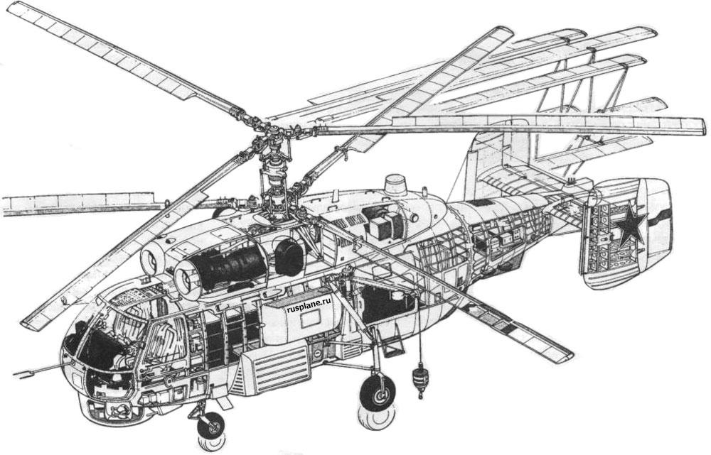 Компоновочная схема корабельного многоцелевого вертолёта КА-27