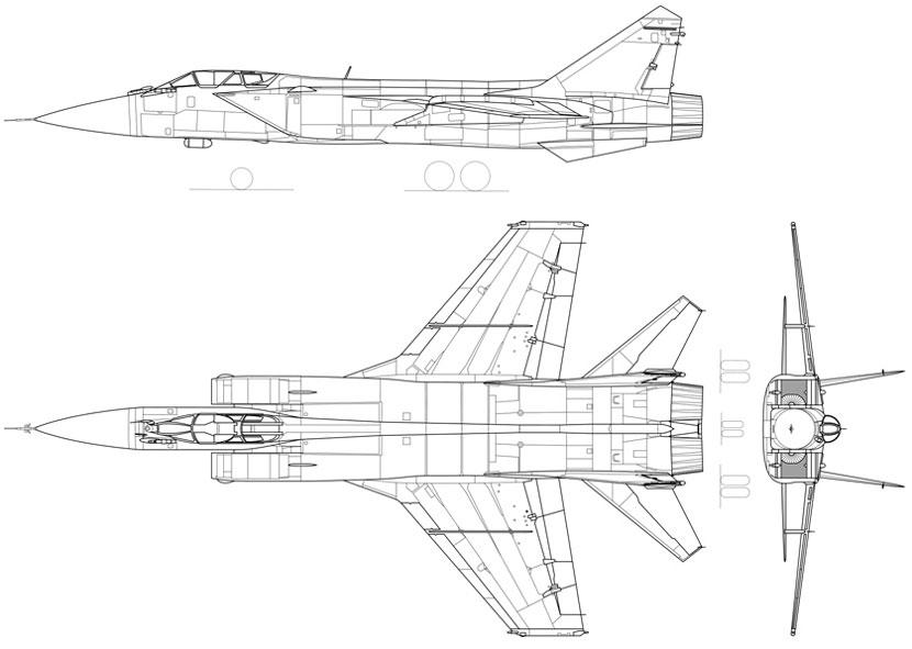 Схема истребителя-перехватчика МИГ-31