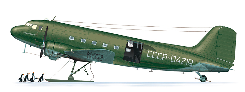 Ли-2 СССР-04219 Управления Полярной Авиации, апрель 1961 г.