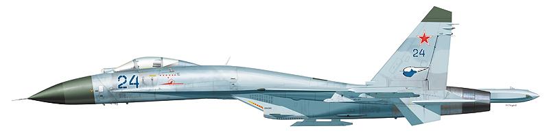 """Су-27 """"борт 24"""" 582-го ИАП 239-й ИАД 4-й ВА ВВС СГВ, аэродром Хойна, Польша, 1992 г."""