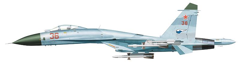 """Су-27 """"борт 36"""" 941-го ИАП, на котором 13 сентября 1987 г. ст. л-т Василий Цимбал столкнулся с норвежским """"Орионом"""" из 333-й АЭ."""