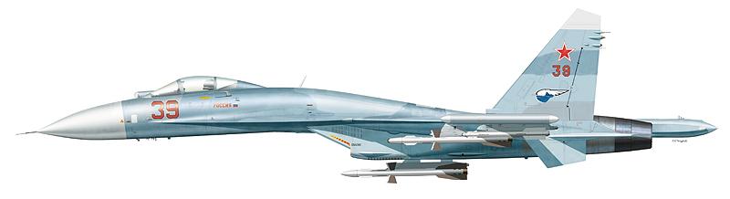 """Су-27 """"борт 39"""" """"Россия"""" 941-го ИАП 10-й ОА ПВО, аэродром Килп-Явр. Обратите внимание на контейнеры """"Сорбция"""" на крайних точках подвески."""