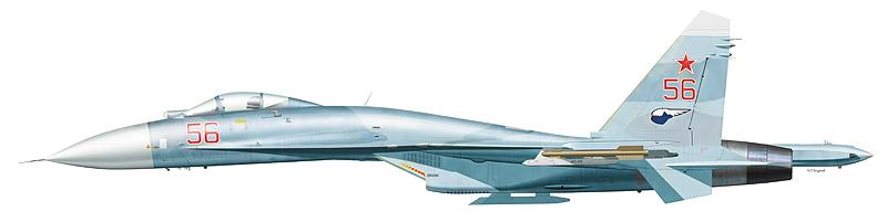 """Су-27 """"борт 56"""". Самолет необычен отсутствием антенны СПО на воздухозаборнике и килевым номером, по размеру и стилю написания не отличающимся от носового. На крайних точках подвески размещены габаритно-весовые макеты ракеты Р-73."""